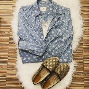 ❤️AG Adriano Goldschmied floral chambray shirt